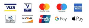 Toutes cartes de paiement. Visa, Mastercard, Maestro, American express, Diners Club, Discover, UnionPay, Google Pay et Apple Pay.